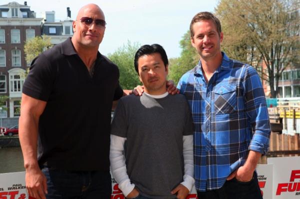 Dwayne Johnson, Justin Lin, and Paul Walker
