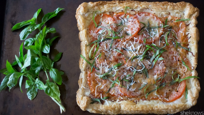 Cheesy tomato basil tart proves that