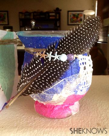 Decoupage feather vase   Sheknows.com