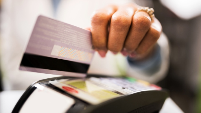 Close-up of credit card payment in