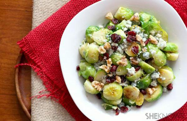 Brussels sprouts with cranberries, blue cheese