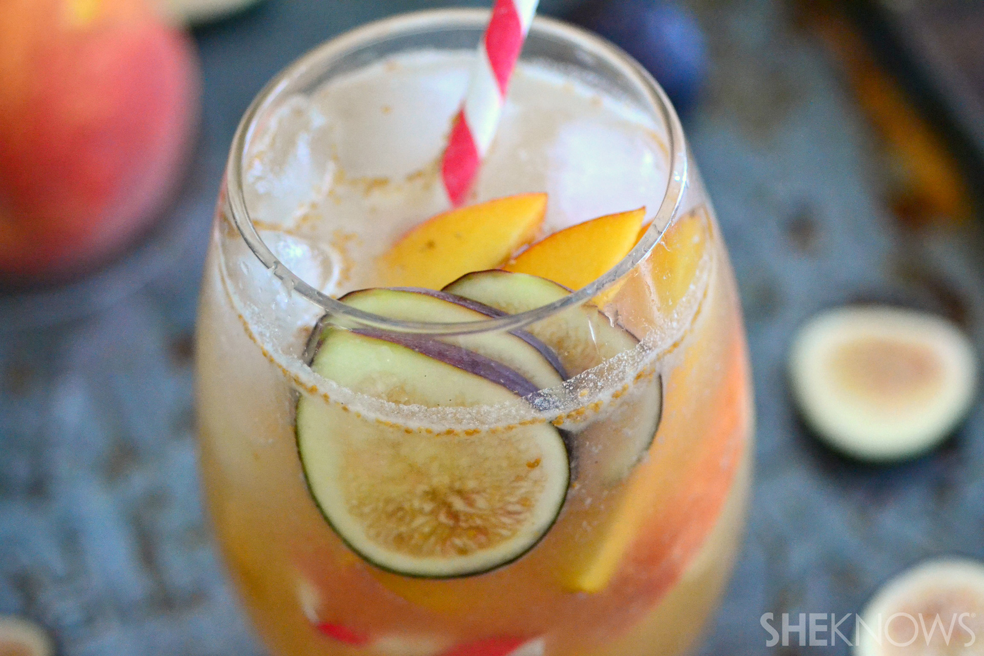 Slow roasted peach and fig bourbon cocktails
