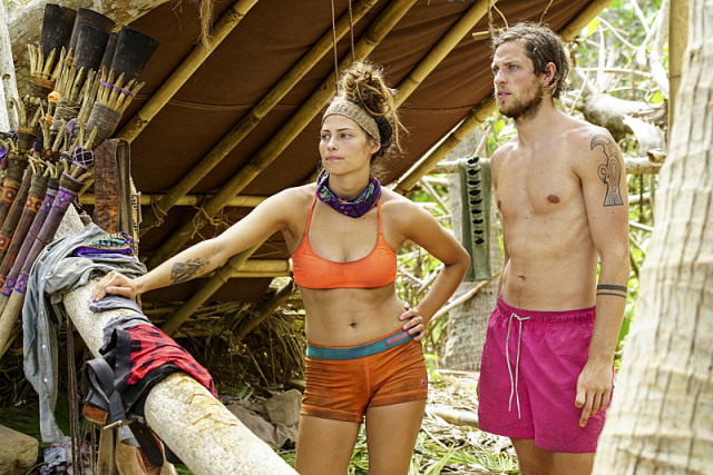Figgy and Taylor Stocker on Millennials tribe during Survivor: Millennials Vs. Gen-X