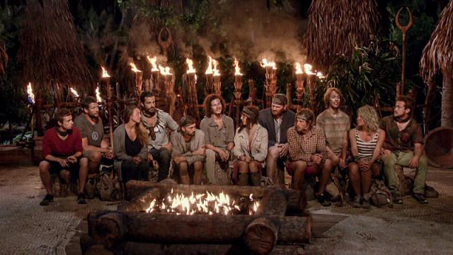 Final 12 castaways at Tribal Council on Survivor: Millennials Vs. Gen-X