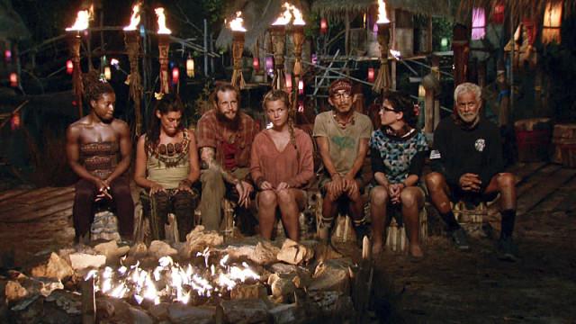 Final 7 castaways at Tribal Council on Survivor: Kaoh Rong