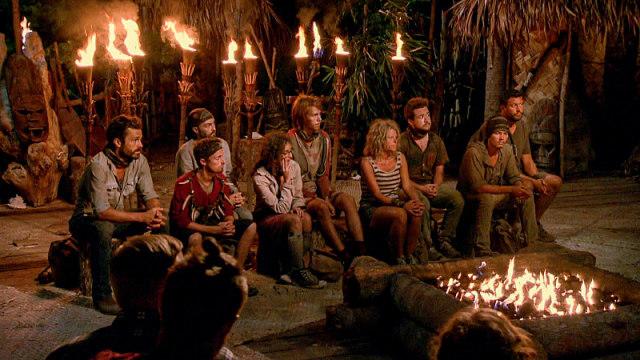 Final 9 castaways at Tribal Council on Survivor: Millennials Vs. Gen-X
