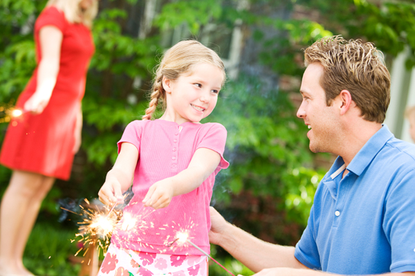 Family outdoor with fireworks