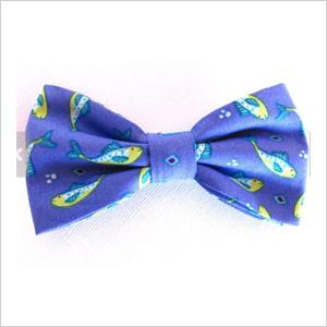 Fish print bow tie
