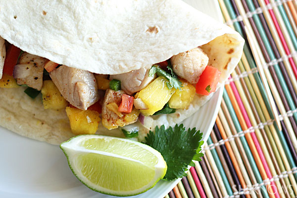 Fish tacos with organic pineapple and mango salsa
