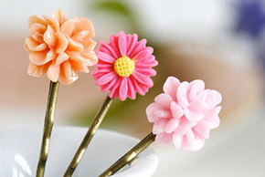 floral bobby pins