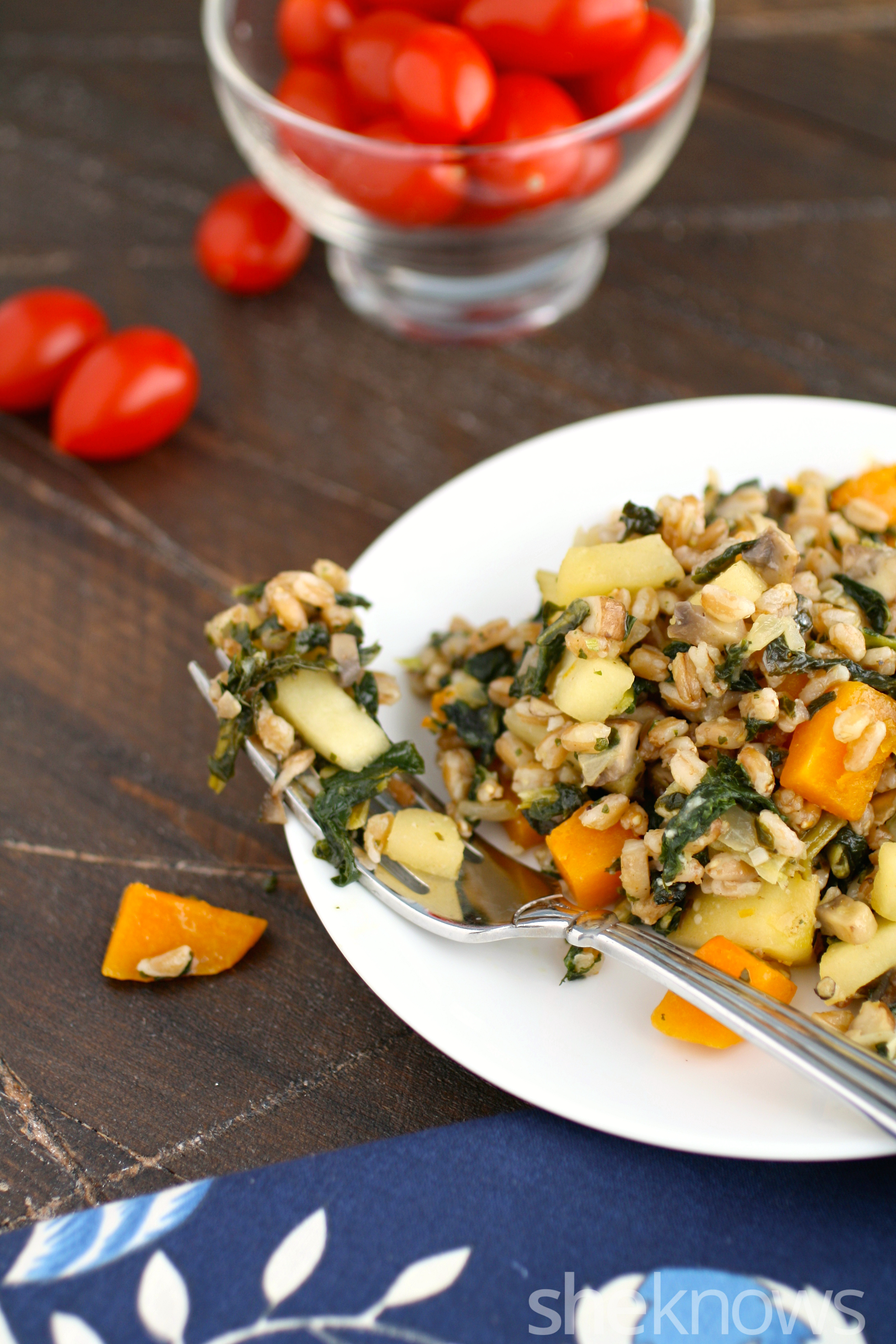 You'll love this Meatless Monday dish: farro, mushroom, and butternut squash is a treat this time of year.