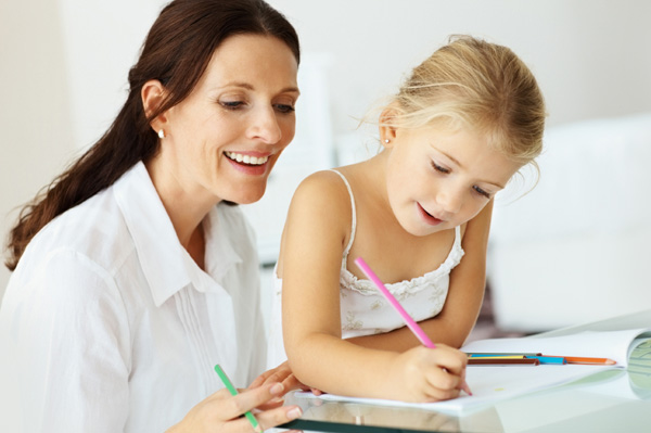 Four year old girl with tutor