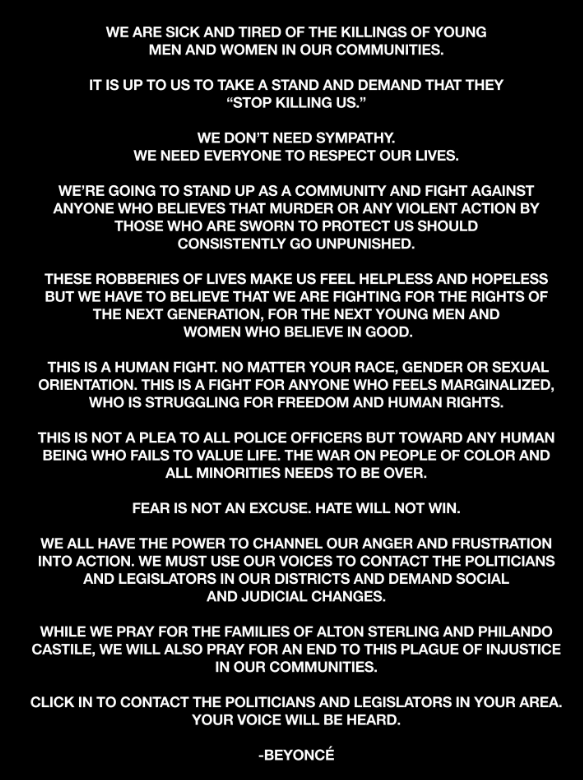 Beyonce Freedom letter