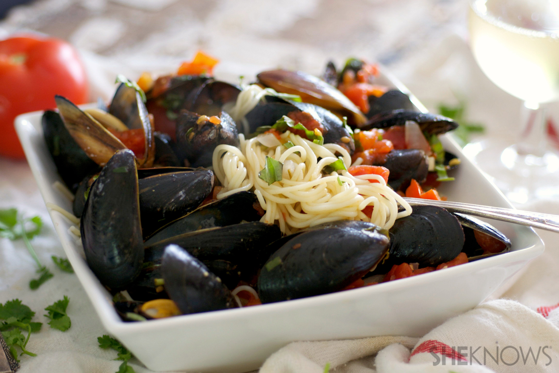 Angel hair with red pepper sauce and mussels