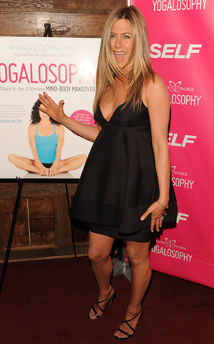 Jennifer Aniston at party for her yoga instructor Mandy Ingber's new book Yogalosophy: 28 Days to the Ultimate Mind-Body Makeover