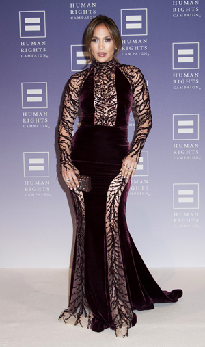 Jennifer Lopez at the Human Rights Campaign dinner in Washington