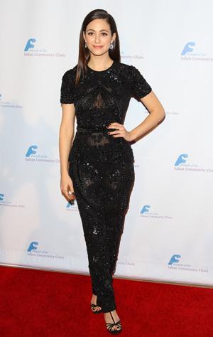 Emmy Rossum wearing black two-piece