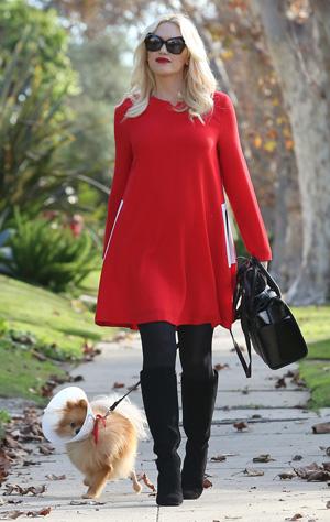 Gwen Stefani wearing red dress on Thanksgiving
