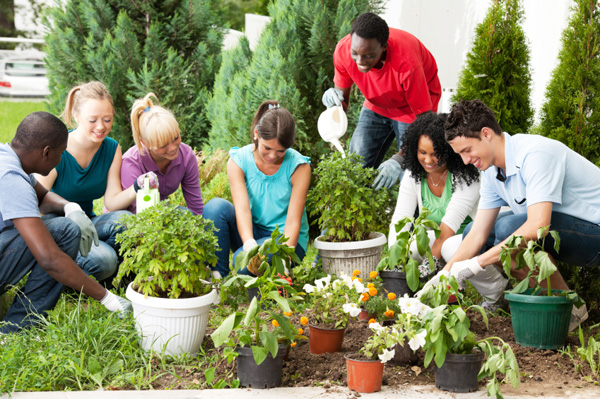 Friends gardening together for Earth Day
