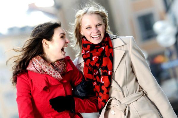 Friends shopping in winter