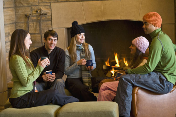 Group of friends on vacation together at skii lodge
