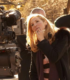 Jennifer Westfeldt on set of Friends with Kids