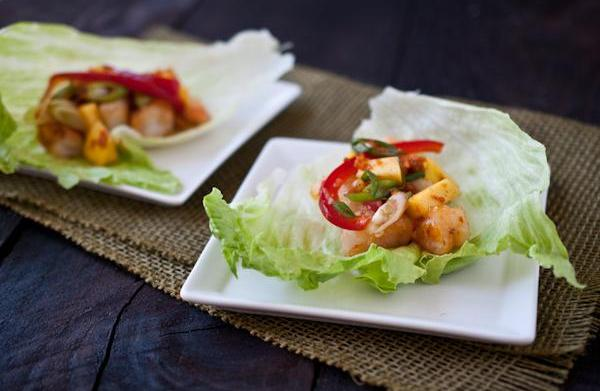 Mango shrimp lettuce cups