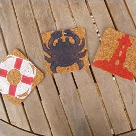 coastal cork coasters from Etsy