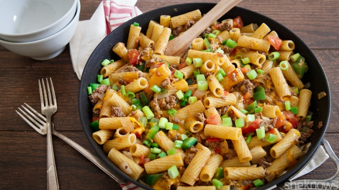 One-Pot Wonder: 30-Minute bison-chili pasta skillet