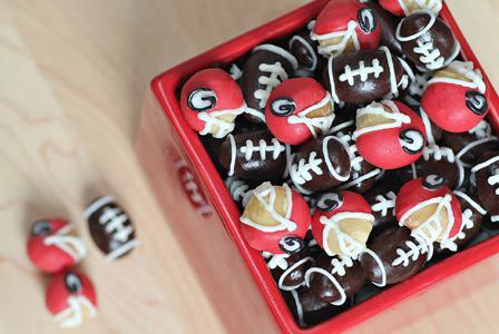Almond football and macadamia football helmets