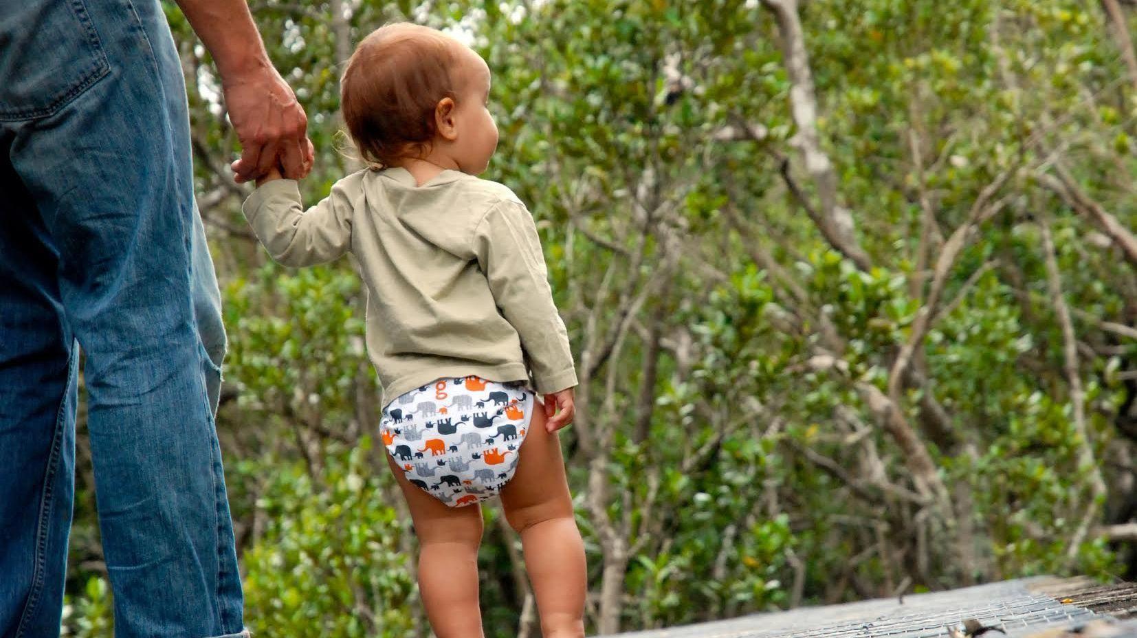 toddler in diaper