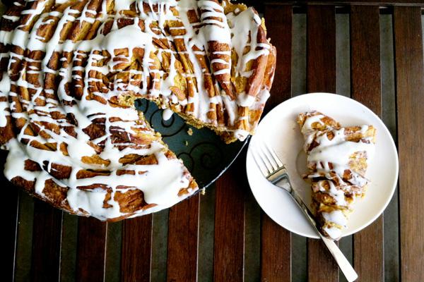 Giant pumpkin cinnamon roll cake recipe