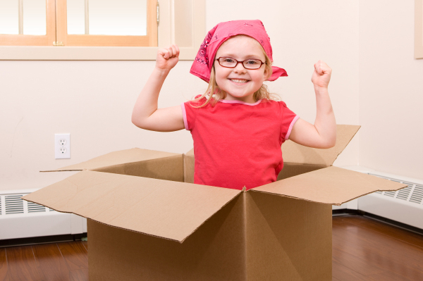 Girl helping pack