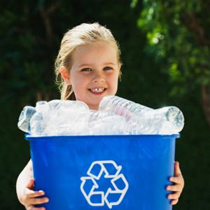 Girl recycling