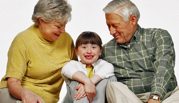 Girl with her grandparents