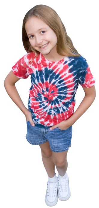 Girl with tie dyed shirt