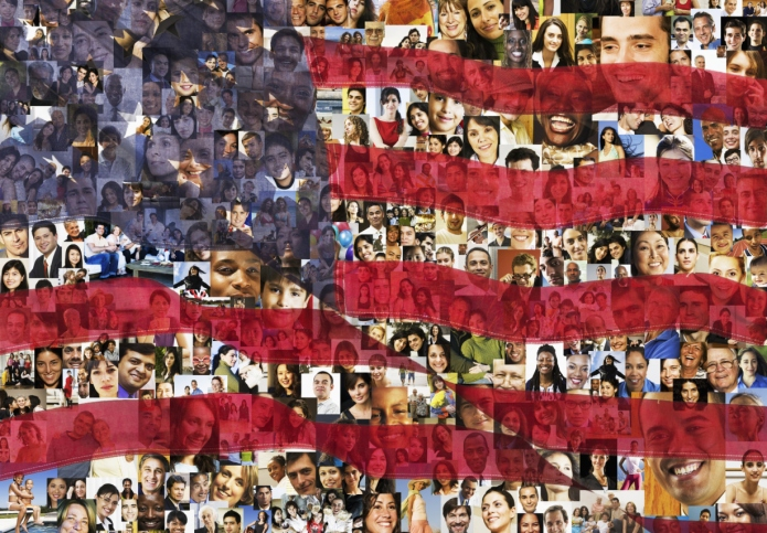 American flag over collage of business