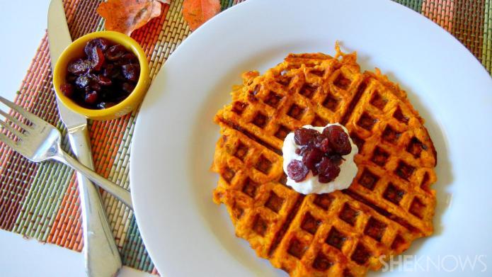 Sweet potato-pumpkin hash brown waffles? Yes,