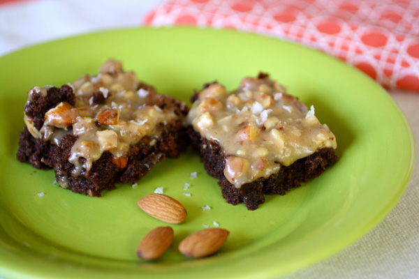 Brownies with Caramel, Almond and Sea Salt Frosting