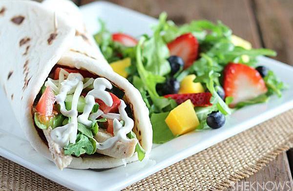 Chicken shawarma and spring fruit salad