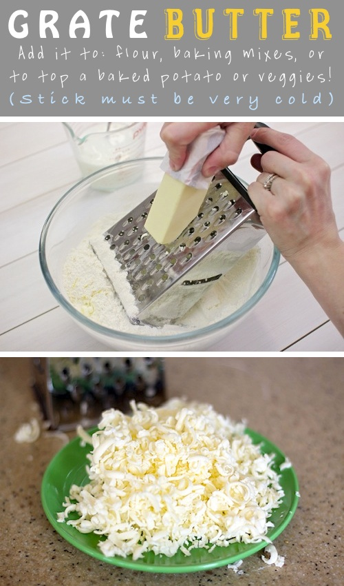 grate frozen butter into flour to make pie crust