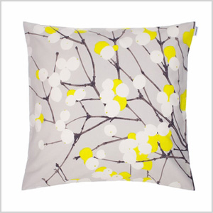 Marimekko Lumimarja gray/yellow throw pillow