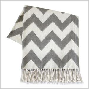 Jonathan Adler throw blanket in zigzag gray