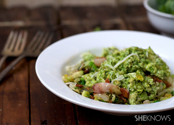 Green eggs and pork belly breakfast hash