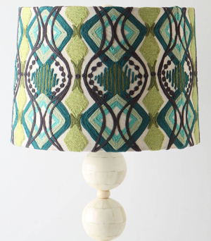 Loving this now: Give your living room or den a boost with this chic, eye-catching lamp in various shades of gorgeous green (anthropologie.com, $88).