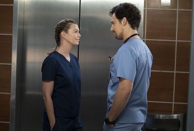 Giacomo Gianniotti and Ellen Pompeo in 'Grey's Anatomy' scene.