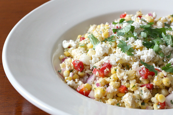 Grilled corn and queso fresco salad