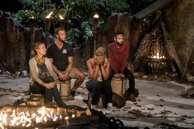 Chrissy Hofbeck, JP Hilsabeck, Ali Elliott and Ryan Ulrich at Tribal Council on Survivor: Heroes Vs. Healers Vs. Hustlers