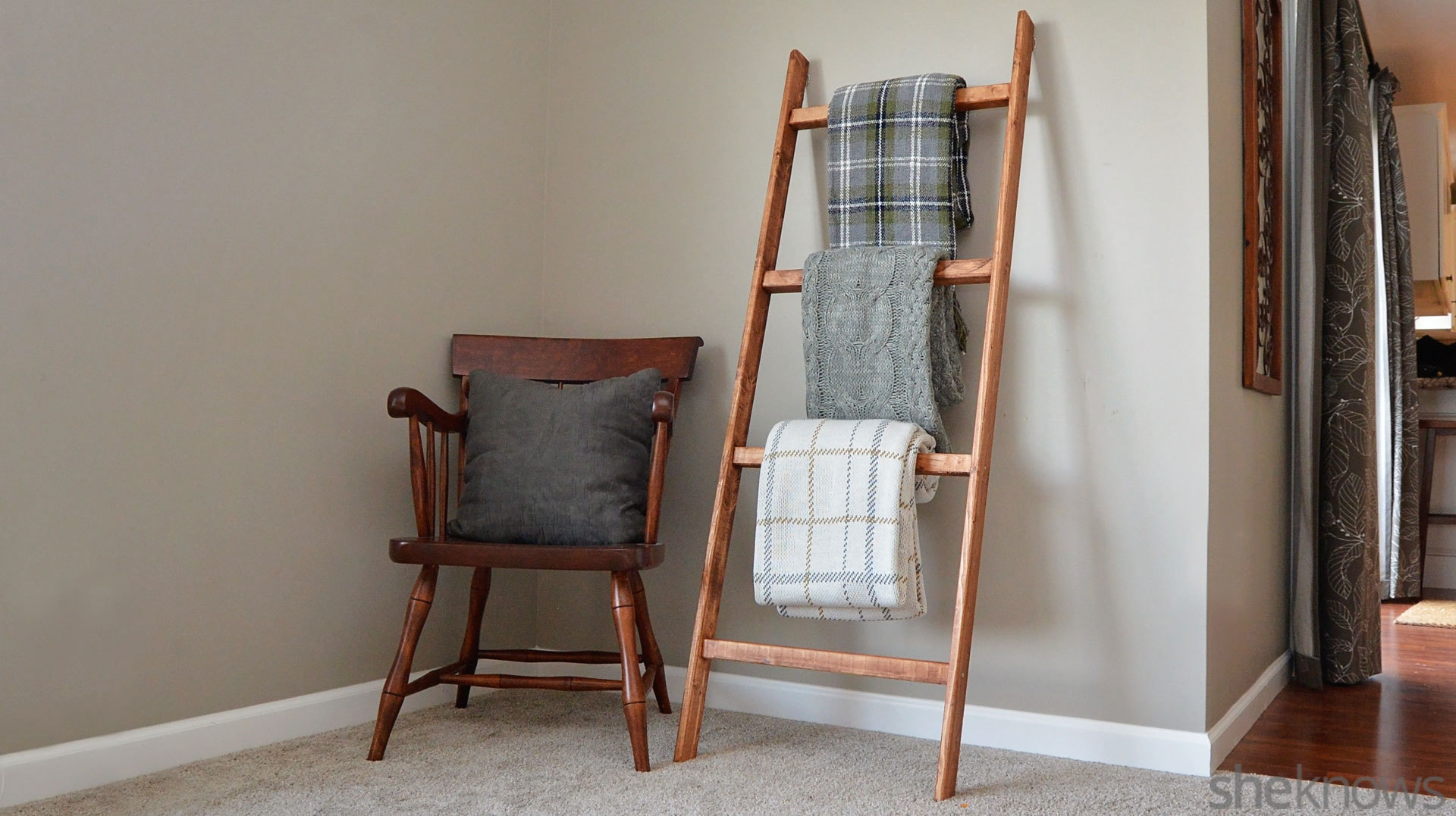 61788c47af How to make a blanket ladder — an easy DIY project perfect for cold weather