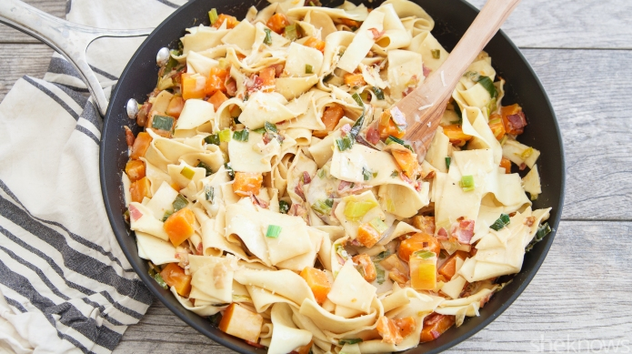 Company-worthy comfort food: Creamy butternut-pancetta pappardelle